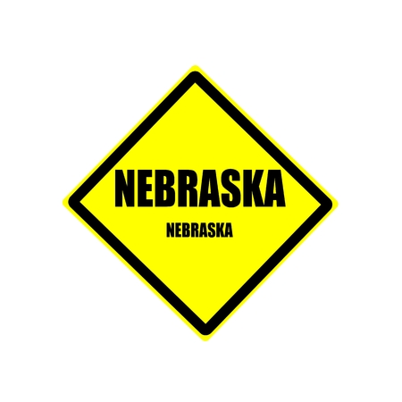 nebraska: Nebraska  black stamp text on yellow background