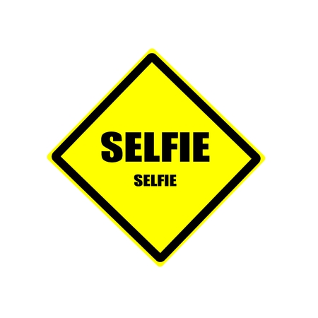 cocky: SELFIE black stamp text on yellow backgroud