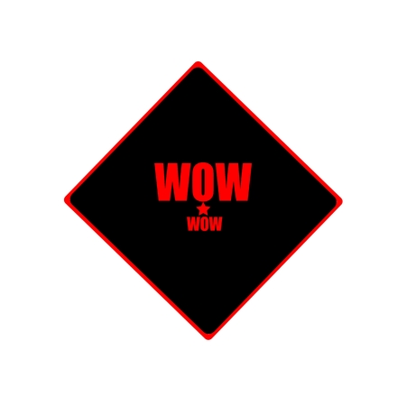 astounded: WOW red stamp text on black background Stock Photo