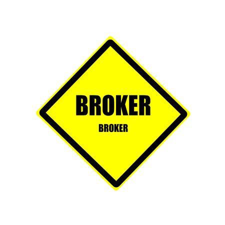 broker: Broker Black stamp text on yellow background Stock Photo