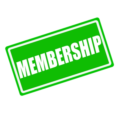 Membership white stamp text on green background