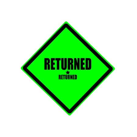 returned: Returned black stamp text on green background Stock Photo