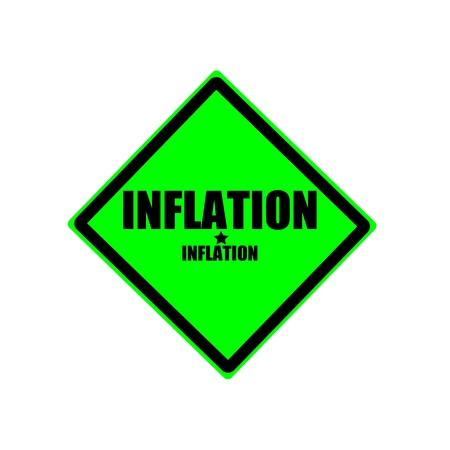 Inflation black stamp text on green background photo
