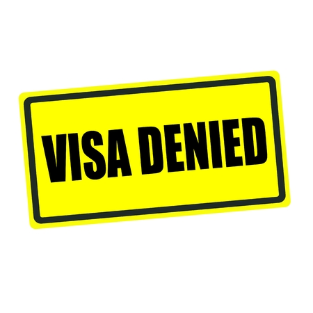 confirmed verification: Visa denied back stamp text on yellow background Stock Photo