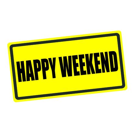 blithe: Happy weekend back stamp text on yellow background