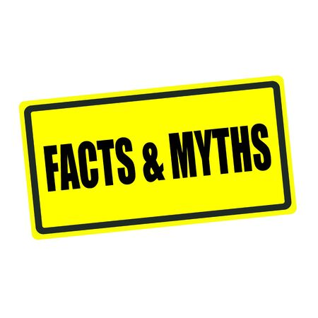 myths: Facts and Myths back stamp text on yellow background Stock Photo