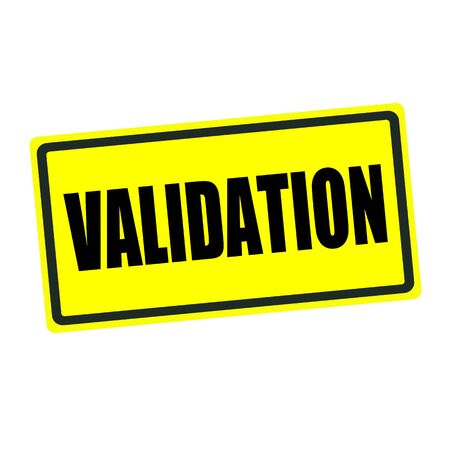 validation: Validation back stamp text on yellow background