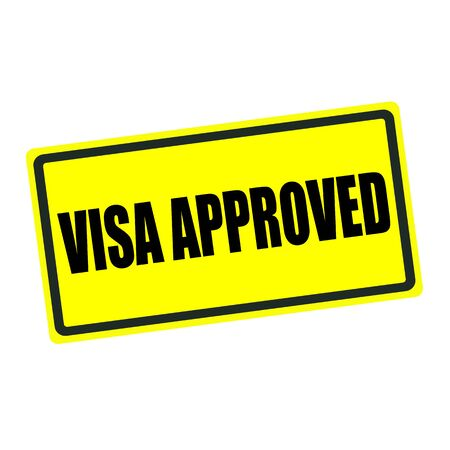 visa approved: Visa approved back stamp text on yellow background Stock Photo