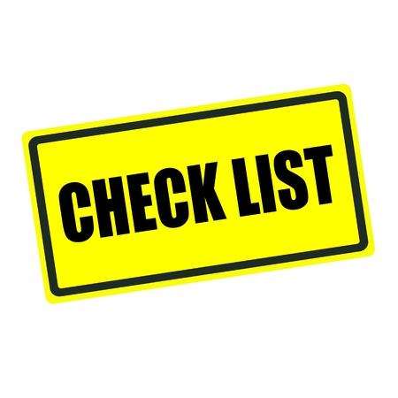 check list: Check list back stamp text on yellow background