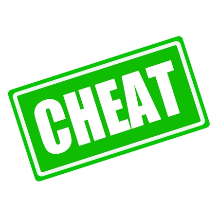 defamation: Cheat white stamp text on green background Stock Photo