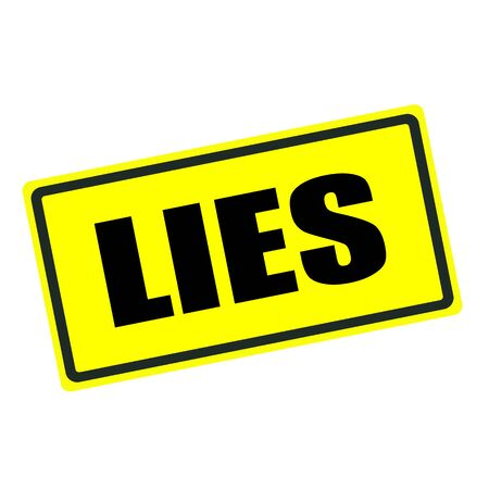 lies: Lies back stamp text on yellow background