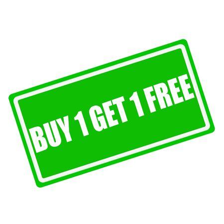 緑の背景 1 get 1 無料ホワイト スタンプのテキストを購入します。