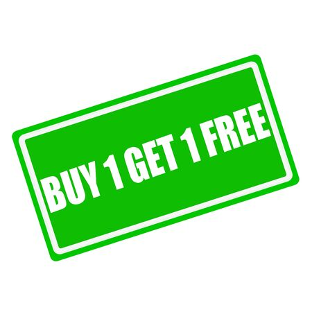 advertised: Buy 1 get 1 free white stamp text on green background
