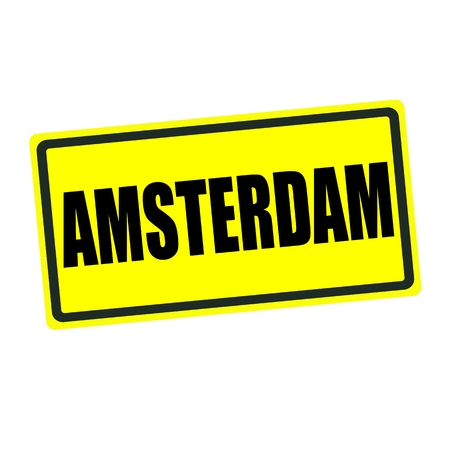 Amsterdam back stamp text on yellow background photo