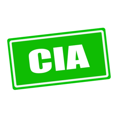 CIA: Cia white stamp text on green background