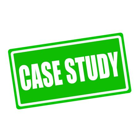 case history: Case study white stamp text on green background