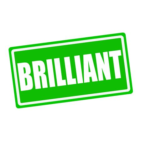 accomplishments: BRILLIANT white stamp text on green background