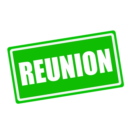 schoolroom: Reunion white stamp text on green background Stock Photo