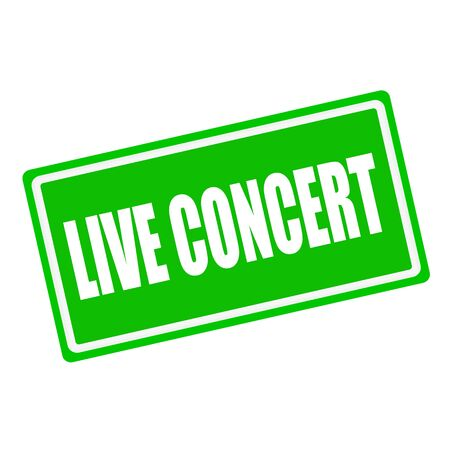 live concert: Live concert white stamp text on green background