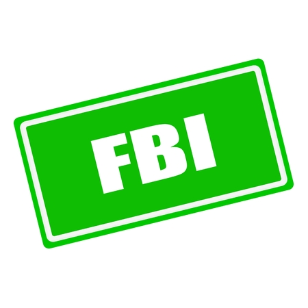 conspire: FBI white stamp text on green background Stock Photo