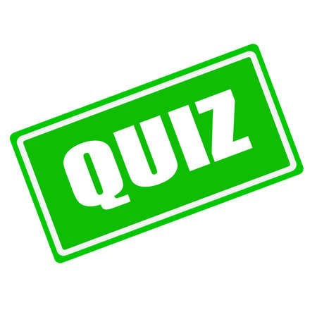 interrogate: QUIZ white stamp text on green background