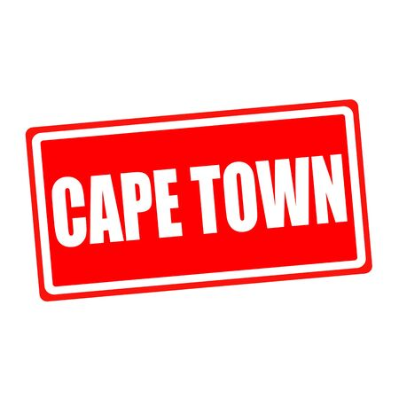 Cape town white stamp text on red backgroud photo
