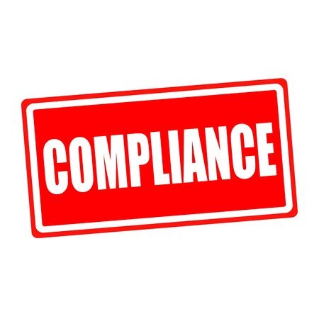 Compliance white stamp text on red backgroud