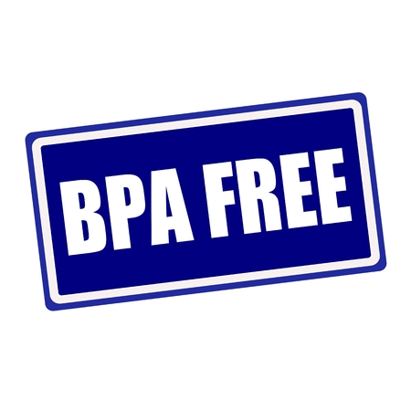 bpa: BPA FREE white stamp text on blue background