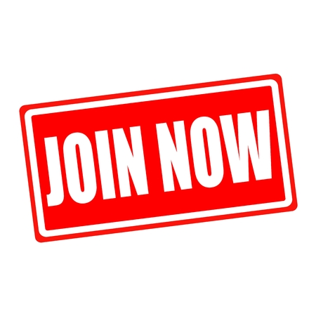 registering: Join now white stamp text on red backgroud Stock Photo