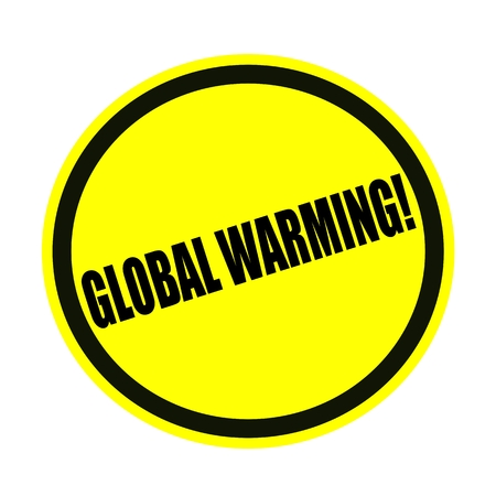 unsustainable: Global warming black stamp text on yellow