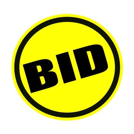 bid: OFERTA sello texto negro sobre amarillo