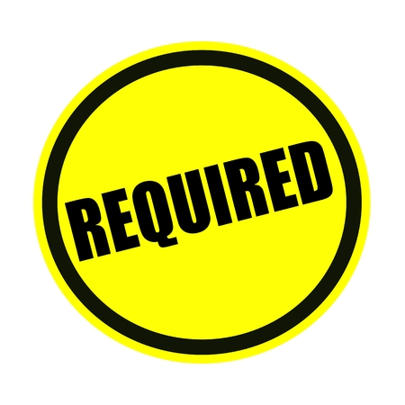 required: Required black stamp text on yellow