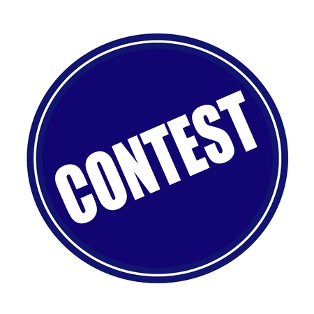 sweepstake: Contest white stamp text on blue