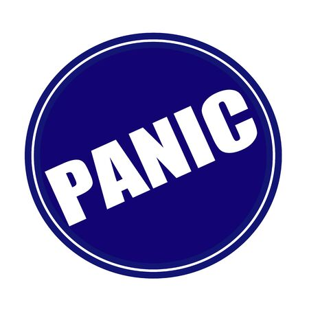 dismay: Panic white stamp text on blue