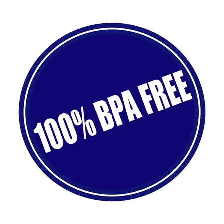 bpa: 100 PERCENT BPA FREE white stamp text on blue Stock Photo