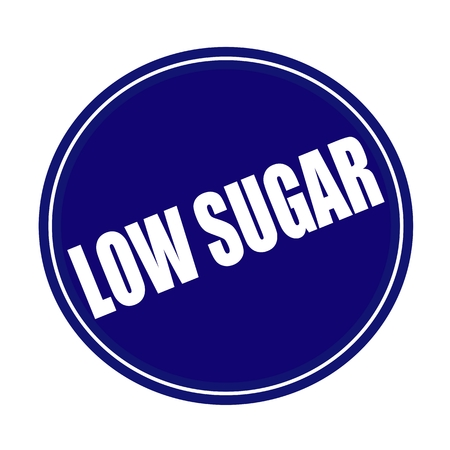 low cal: Low sugar white stamp text on blue