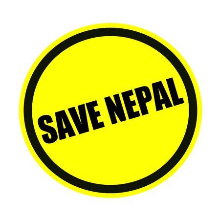 quake: Save nepal black stamp text on yellow Stock Photo