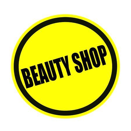 beauty shop: Tienda de belleza sello texto negro sobre fondo amarillo