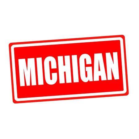 Michigan white stamp text on red backgroud photo