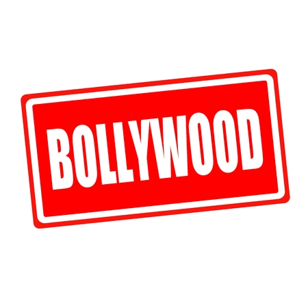 bollywood: Bollywood white stamp text on red backgroud Stock Photo