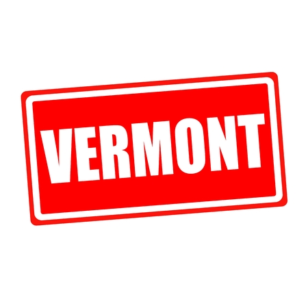 verification and validation: Vermont white stamp text on red backgroud Stock Photo