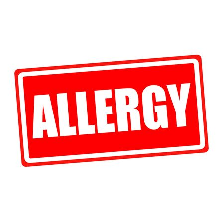 medicated: Allergy white stamp text on red backgroud