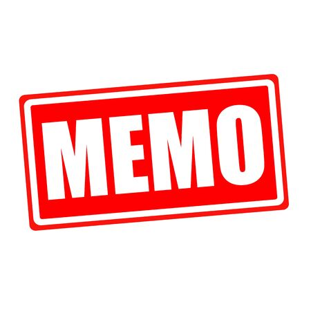 social awareness symbol: Memo white stamp text on red backgroud