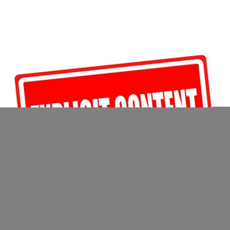 esplicito: Contenuto esplicito testo del timbro bianco su backgroud rosso Archivio Fotografico