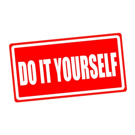 do it yourself: Do it yourself white stamp text on red backgroud