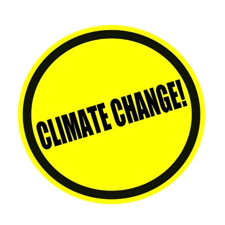 unsustainable: Climate change black stamp text on yellow