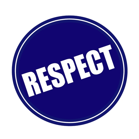 respect: RESPECT white stamp text on blue Stock Photo