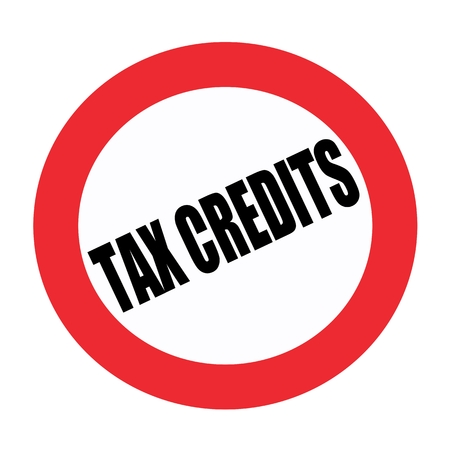 Tax credits black stamp text on white Stock Photo