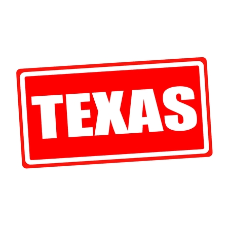 verification and validation: Texas white stamp text on red backgroud