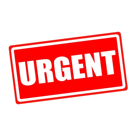 URGENT white stamp text on red backgroud Stock Photo